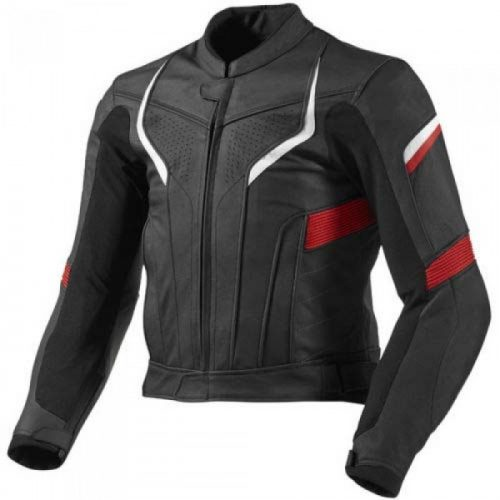 Black Red Custom Motorbike Racing Leather Jacket