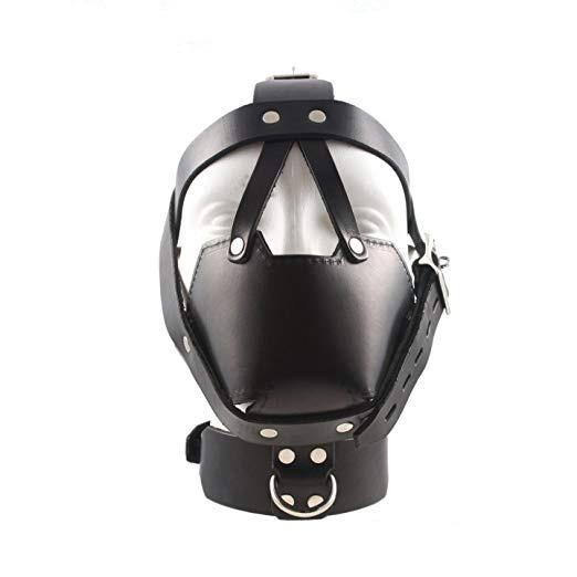 Genuine Leather Bondage Muzzle Mask Head Harness Restraint Mask