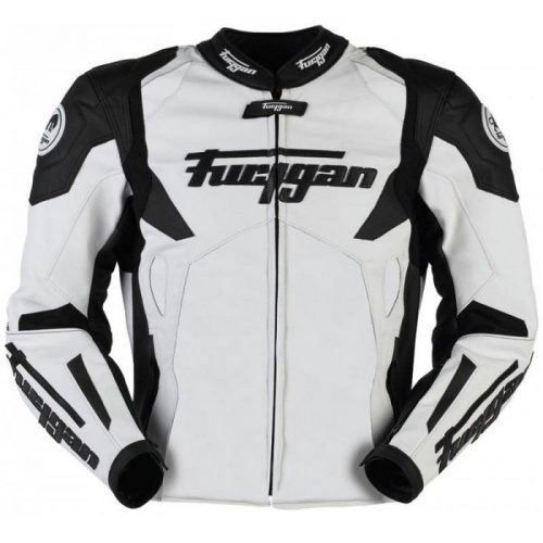 Furygan Spyder Motorbike Racing Leather Jacket White Black