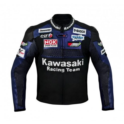 Kawasaki Blue Racing Team Motorcycle Leather Jacket