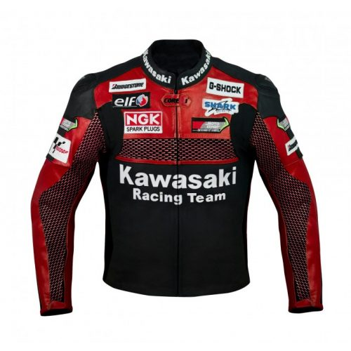 Kawasaki Red Racing Team Motorcycle Leather Jacket