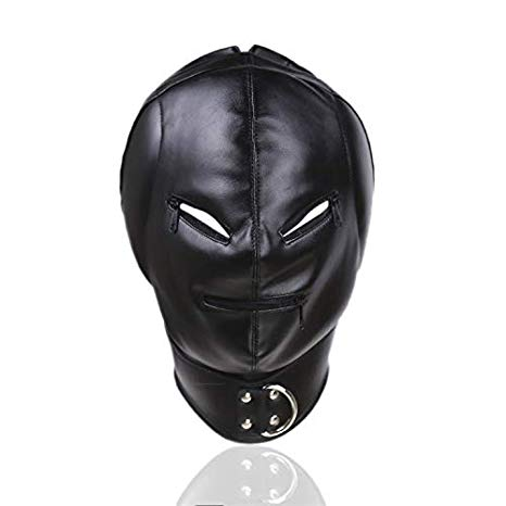Leather Hearing Deprivation Bondage Restraint Mask Hood
