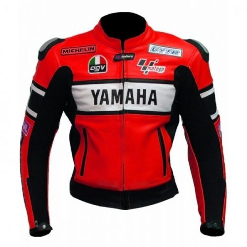 Men's Yamaha Red Motorcycle Leather Jacket