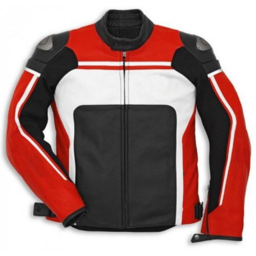 Red White Motorcycle Racing Cowhide Biker Leather Jacket