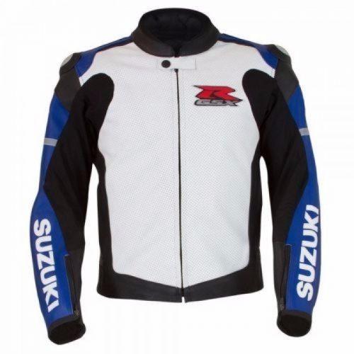 Suzuki GSXR Custom Motorcycle Racing Leather Jacket CE Armor