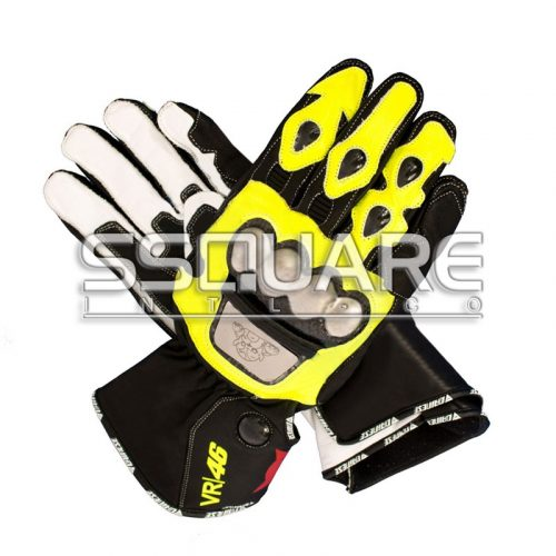 Valentino Rossi VR 46 Motorcycle Race Leather Gloves