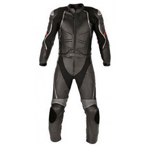 Gray Women Racing Motorbike Leather Suit