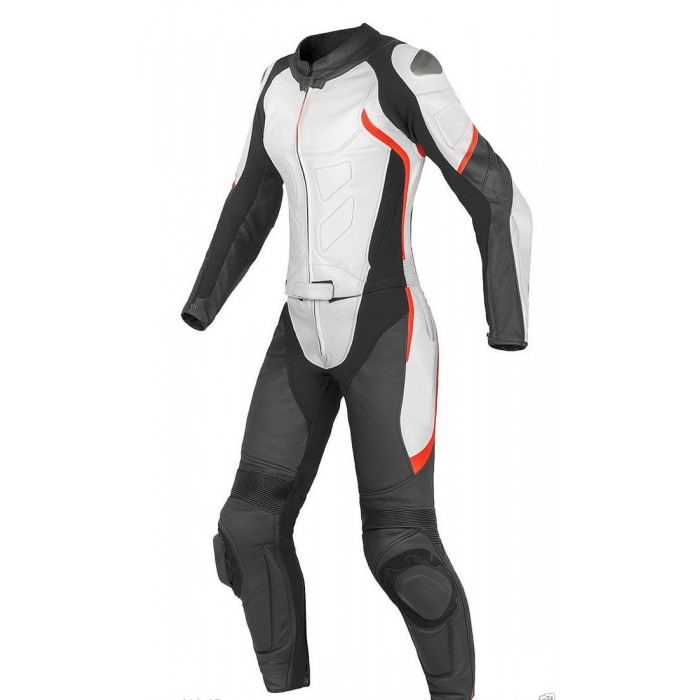 Black white Women Racing Motorbike Leather Suit