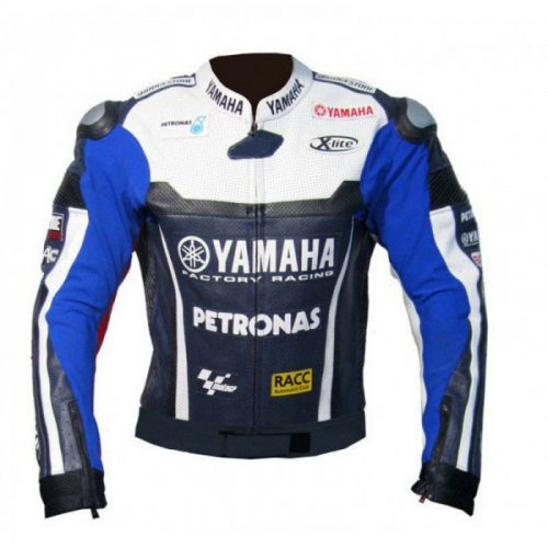 Yamaha blue Petronas Motorbike Leather Jacket