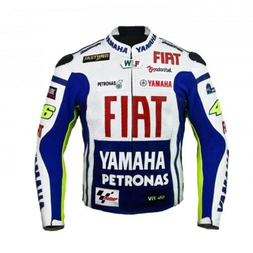 Rossi Yamaha Fiat Motorbike Racing Leather Jacket