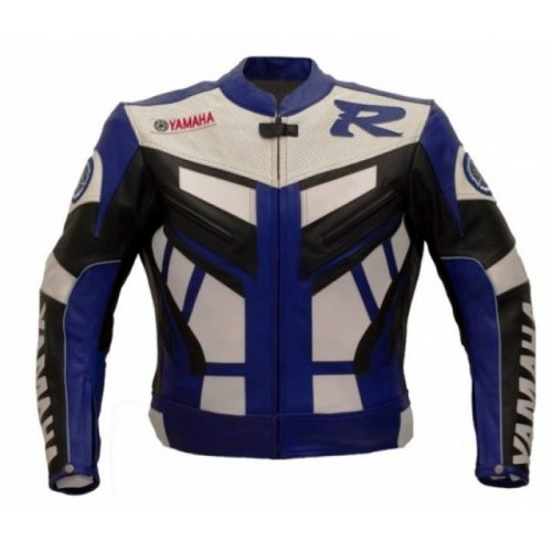 Yamaha R, R1, R2 White Blue Motorbike Racing Leather Jacket