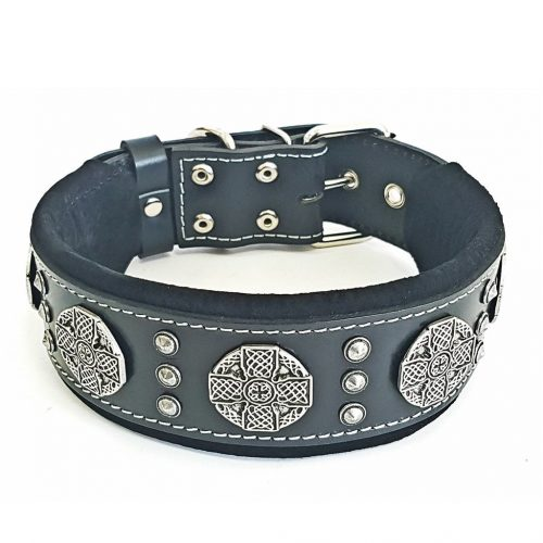 custom dog collar black silver