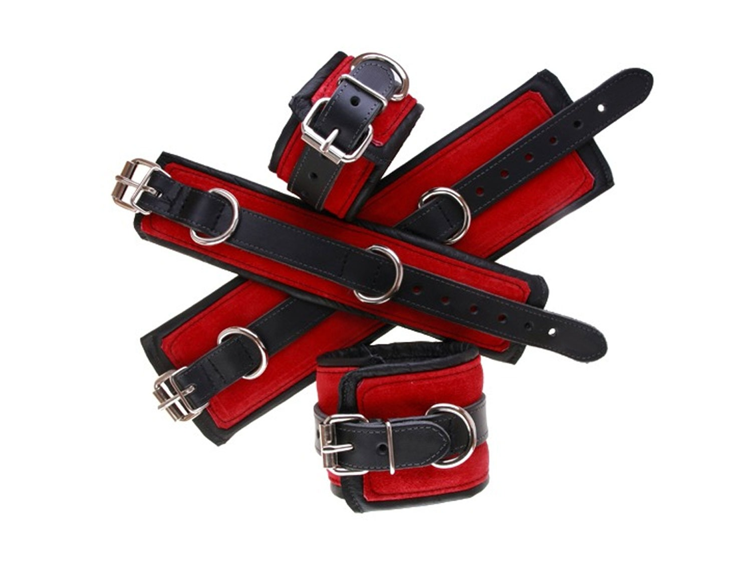 Premium Padded Leather Cuffs / Red
