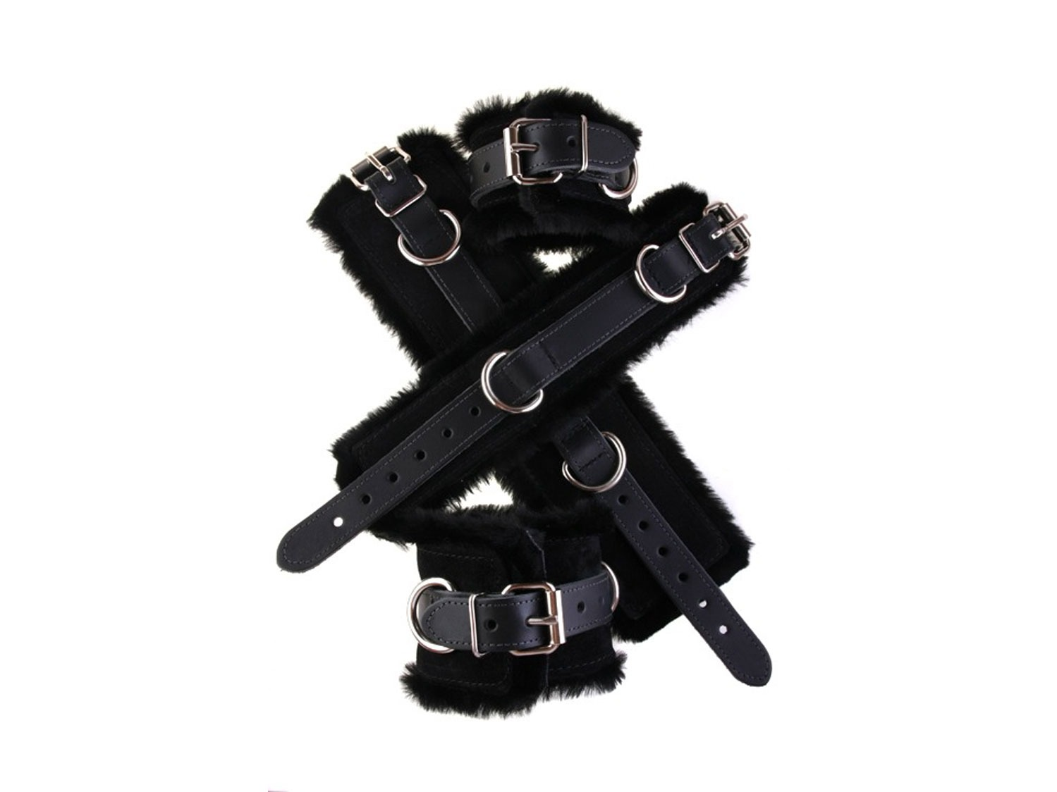 Faux fur bondage leather cuff black