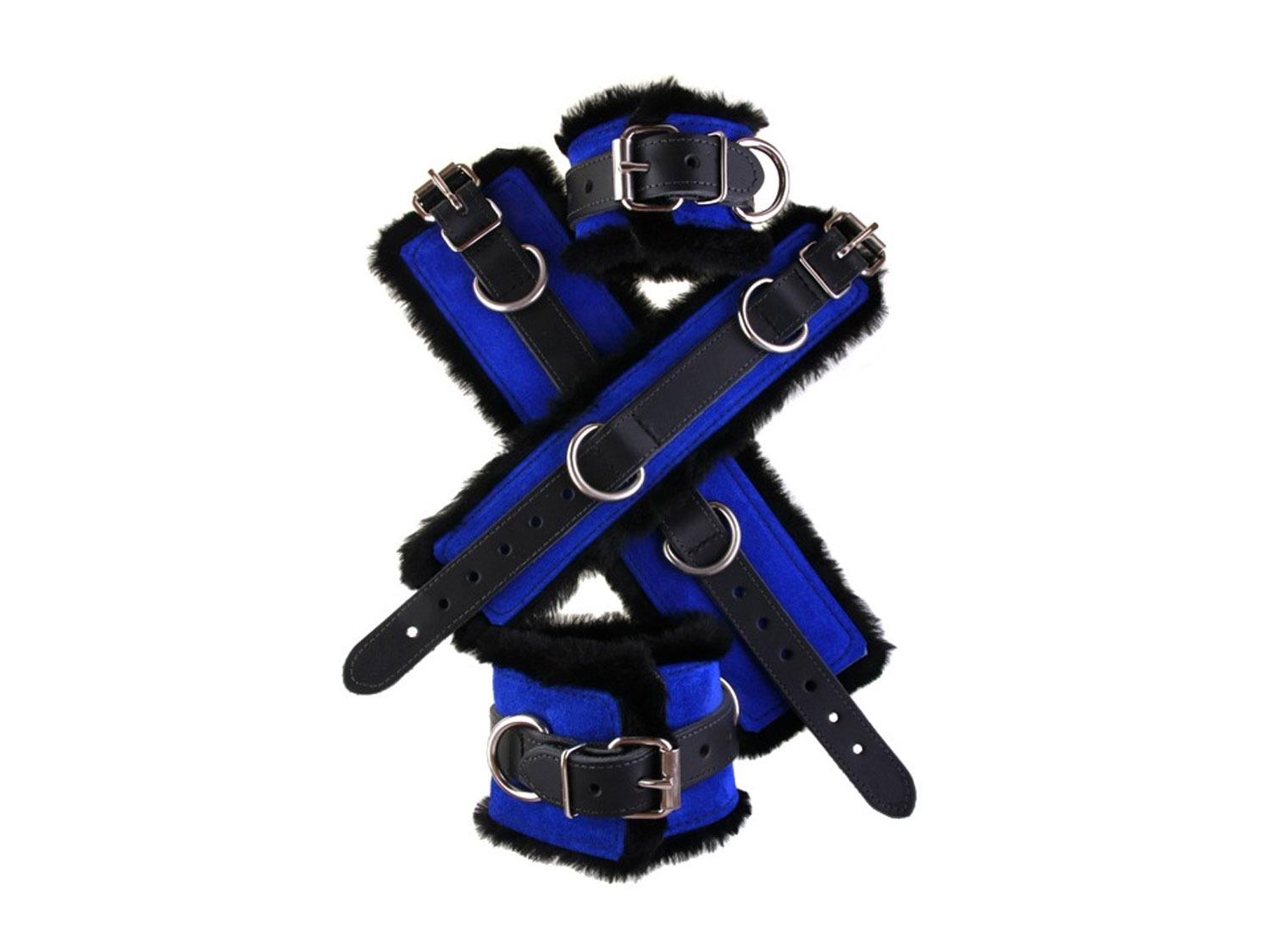 Faux fur bondage leather cuff blue